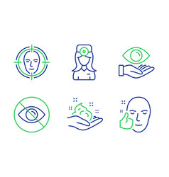 Health eye not looking and oculist doctor icons vector