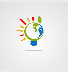 healthy bulb logo with human and leaf icon vector image