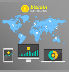 Infographic bitcoin on the background of the world vector
