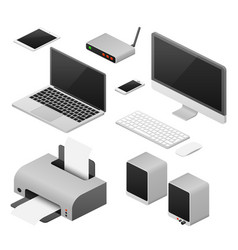 isometric 3d digital computers and supplies vector image