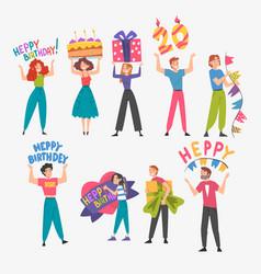 joyful people with holiday symbols set happy vector image