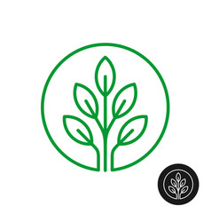 Line style round logo with tree leaves vector