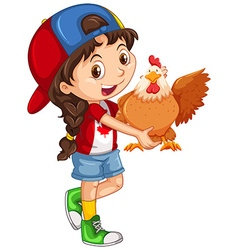 Little girl holding a chicken vector image