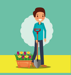 man cartoon holding shovel and potted flowers vector image