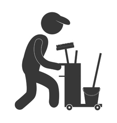 Man worker cleaning equipment figure pictogram vector