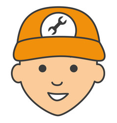 Mechanic head avatar character icon vector