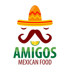 Mexican food restaurant sombrero mustaches vector