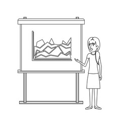 Monochrome silhouette of businesswoman with vector