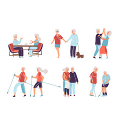 Old people cartoon hand drawn elderly persons vector