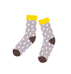 Pair cute stylish dotted socks isolated vector