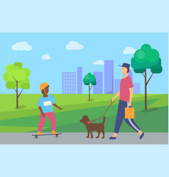 people spending time in city park boy man vector image
