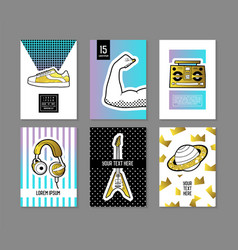 pop art retro style posters set trendy banners vector image