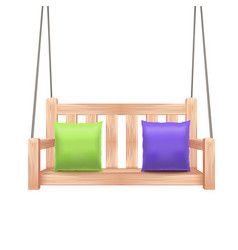 realistic 3d detailed wooden swing bench vector image