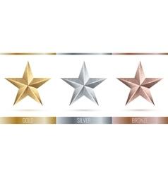 realistic metallic 3 stars vector image