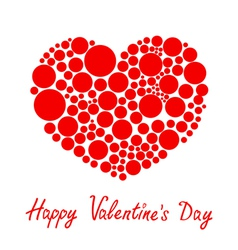 Red heart made from many round dots Love card vector