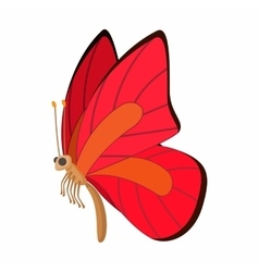 Red-orange butterfly icon cartoon style vector