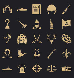 Revolver icons set simple style vector