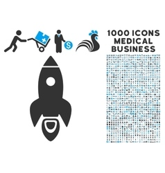Rocket Icon with 1000 Medical Business Pictograms vector