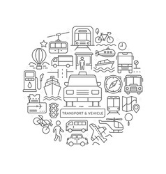 round design element with vehicle icons vector image