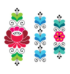 russian folk art pattern - floral long stripes vector image