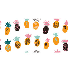 seamless pattern with tropical fruits - pineapples vector image