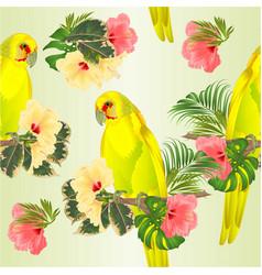 Seamless texture parrot in yellow bird indian vector