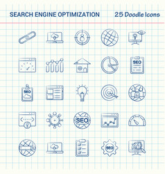 Search engine optimization 25 doodle icons hand vector