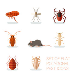 set flat polygonal pest icons vector image
