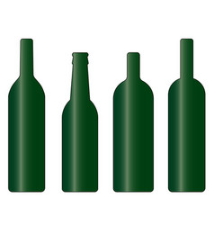 set green wine and beer bottle vector image