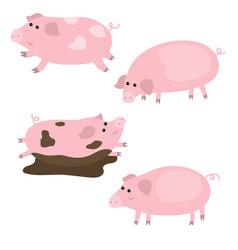 Set of cute pigs set of cute pigs vector