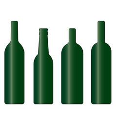set of green wine and beer bottle vector image
