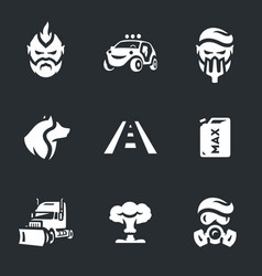 set of post-apocalypse road icons vector image