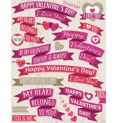 Set of ribbon valentines design vector