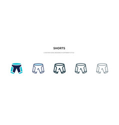 Shorts icon in different style two colored and vector