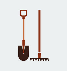 shovel and rake iconflat design design vector image