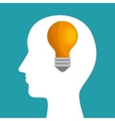 silhouette head bulb idea inspiration vector image