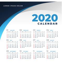 Simple business style 2020 calendar design vector