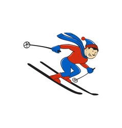 Skier Skiing Side Isolated Cartoon vector image