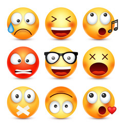 Smileyemoticon set yellow face with emotions vector