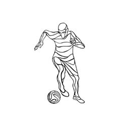 Soccer or football player kicks the ball Line art vector image