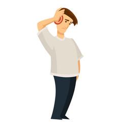 Sore ear ache otitis guy holding head isolated vector