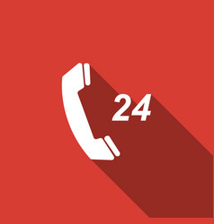 Telephone 24 hours support icon with long shadow vector