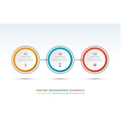 timeline infographic template of 3 circles vector image