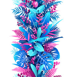 tropical plants colorful vertical seamless vector image
