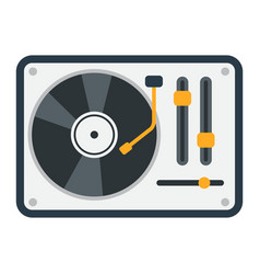 Turntable flat icon music and instrument vector