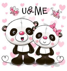 Two cute cartoon pandas vector