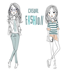 Two cute cartoon sketched fashion little girls vector