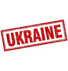Ukraine red square grunge stamp on white vector