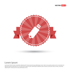 usb icon - red ribbon banner vector image