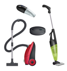 Vacuum cleaner realistic equipment for cleaning vector